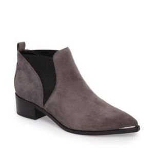 NEW Marc Fisher Yellin Gray Suede Leather Pointy Toe Heel Pull-On Ankle Boot 6.5